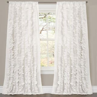 Oliver James Saville White Ruffled Curtain Panel