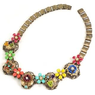 Sweet Romance Mayan Enamel Desert Flower Collar Necklace