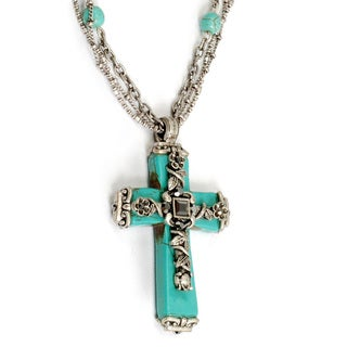 Sweet Romance Turquoise Silver Antique Cross Pendant Necklace
