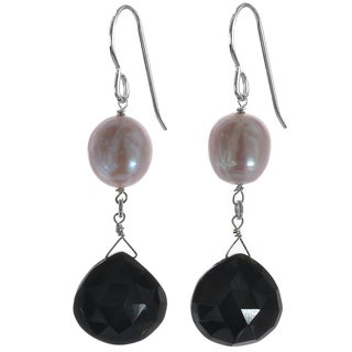 Ashanti Silver Pink Pearl and Black Onyx Earrings (Sri Lanka)
