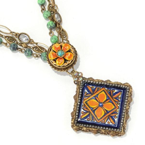 Sweet Romance Bronzetone Ceramic Tile and Tangerine Bead Necklace