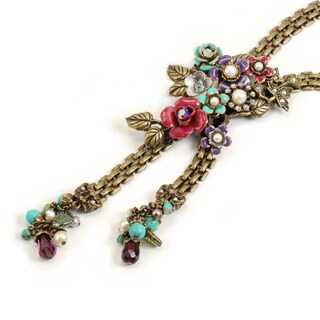 Sweet Romance Bronzetone Crystal 1940's Corsage Necklace