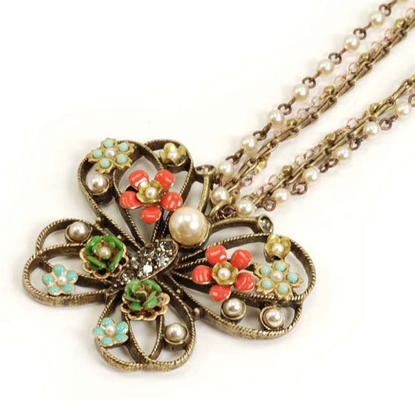 Sweet Romance Floral Butterfly Necklace