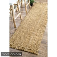 Havenside Home Caladesi Handmade Braided Natural Jute Reversible Runner Rug - 2'6 x 8'