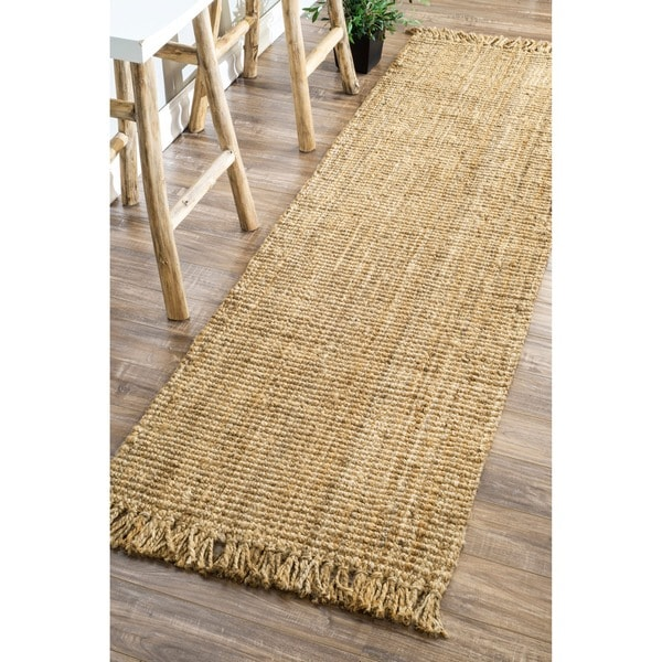 nuloom handmade eco natural fiber chunky loop jute rug runner 2 39 6 x 8 39 free shipping today. Black Bedroom Furniture Sets. Home Design Ideas