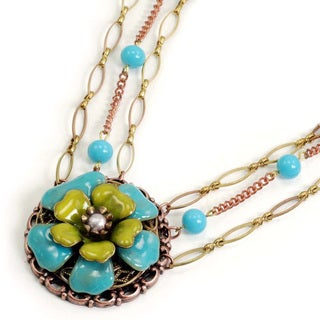 Sweet Romance Bronzetone Blue and Green Flower Necklace
