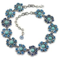 Sweet Romance Turquoise Rose Silver Statement Necklace