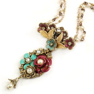 Sweet Romance Bronzetone Flower Garden and Faux Pearl Necklace