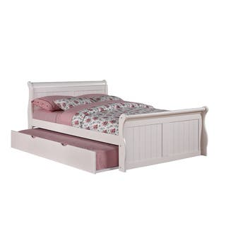 Donco Kids White Sleigh Bed with Trundle|https://ak1.ostkcdn.com/images/products/8117784/White-Trundle-Sleigh-Bed-P15465222.jpg?impolicy=medium