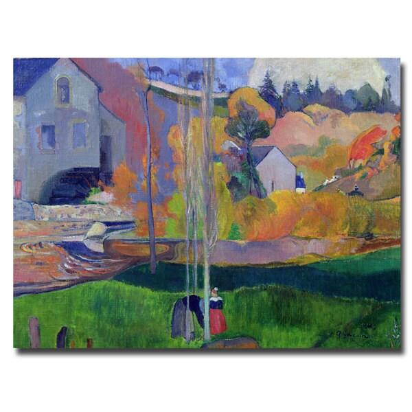 Paul Gauguin 'Brittany Landscape David Mill 1894' Canvas Art - Multi