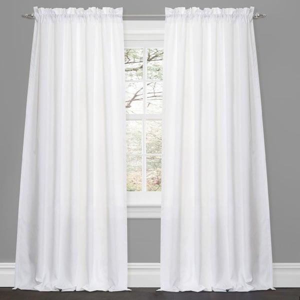 Lush Decor Lucia White 84-inch Curtain Panel Pair