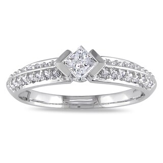 Miadora 10k White Gold 1/2ct TDW Diamond Engagement Ring