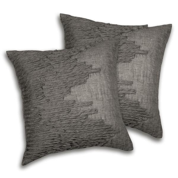 Lush Decor Lake Como Square Grey Decorative Pillows Set Of 2