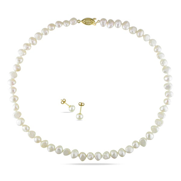 Miadora Yellow Plated Cultured Freshwater Pearl Necklace and Stud Earrings Set (7.5-8 mm). Opens flyout.