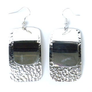 Handmade Silverplated Large Two Rectangle Earrings (Mexico)