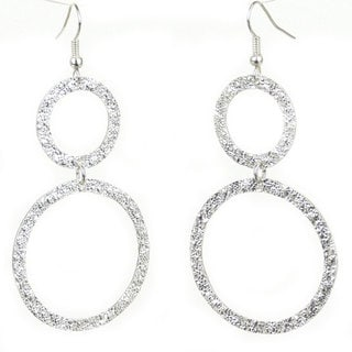 Handmade Silverplated Large Two Circle Earrings (Mexico)