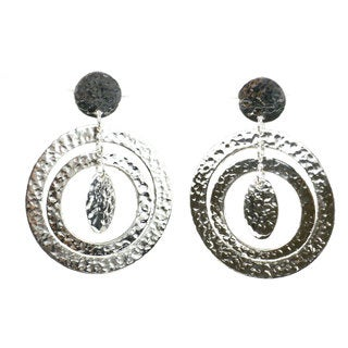 Handcrafted Silverplated Large Circle Post Earrings (Mexico)