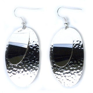 Handmade Silverplated Large Two Ovals Earrings (Mexico)