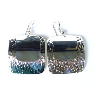 Handmade Silverplated Polished/ Hammered Square Earrings (Mexico)