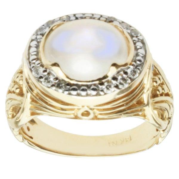 Michael Valitutti 14k Yellow Gold Moonstone, Blue Sapphire and Diamond Ring