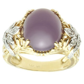 Michael Valitutti 14k Two-tone Gold Lavender Chalcedony and Diamond Ring