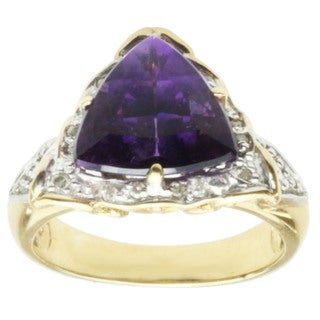 Michael Valitutti 14k Two-tone Gold Trillion-cut Amethyst and Diamond Ring