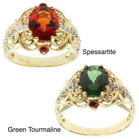 Michael Valitutti 14k Yellow Gold Green Tourmaline or Spessarttie, Orange Sapphire and Diamond Ring