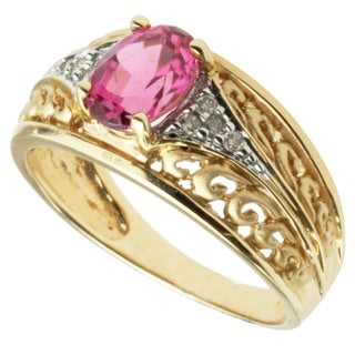 Michael Valitutti 14K Yellow Gold Pink Tourmaline and Diamond Band-style Ring