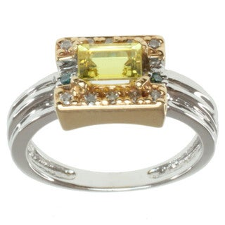Michael Valitutti 14k Two-tone Gold Canary Tourmaline, Teal and White Diamond Ring