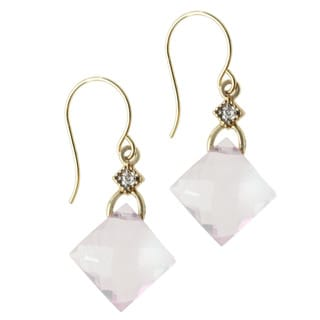 Michael Valitutti 14k Yellow Gold Rose Quartz and Diamond Earrings