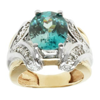 Michael Valitutti 14K Two-tone Gold Prong-set Blue Zircon and Diamond Ring