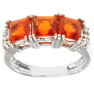 Michael Valitutti 14k White Gold Fire Opal and Diamond Ring