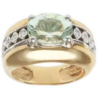 Michael Valitutti 14k Two-tone Gold Sea Foam Tourmaline and Diamond Ring