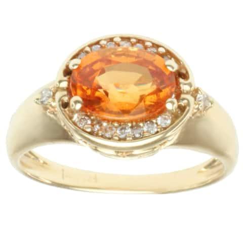 Gems en Vogue 14k Yellow Gold Orange Spessartite Garnet and Diamond Ring