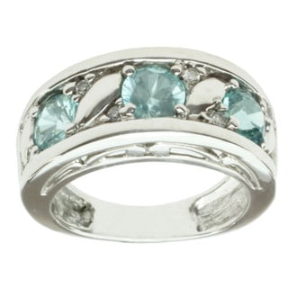 Michael Valitutti 14K White Gold Blue Zircon and Diamond Band-style Ring