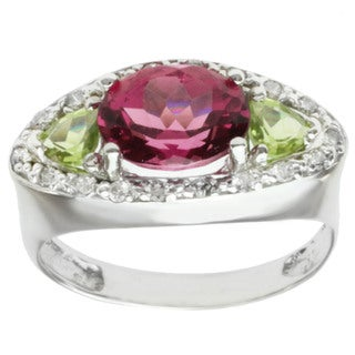 Michael Valitutti 14k White Gold Pink Tourmaline, Peridot and Diamond Ring