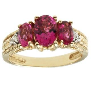 Michael Valitutti 14K Yellow Gold Prong-set Pink Tourmaline and Diamond Ring