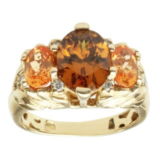 Michael Valitutti 14k Yellow Gold Cognac Zircon, Spessartite Garnet and Diamond Ring