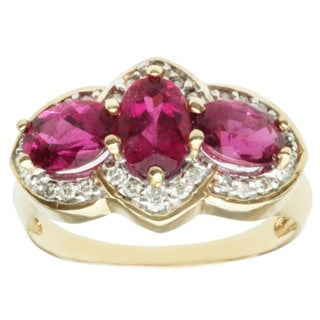 Michael Valitutti 14k Yellow Gold Oval-cut Rubelite and Diamond Ring