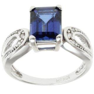 Michael Valitutti 10k White Gold Created Blue Sapphire and Diamond Ring