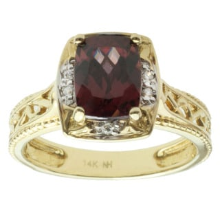 Michael Valitutti 14k Yellow Gold Rose Zircon and Diamond Ring