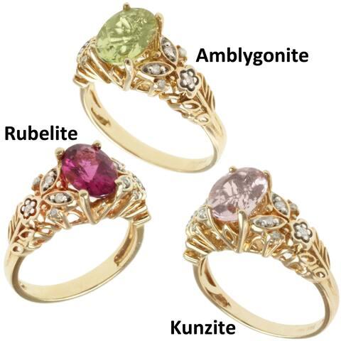 Michael Valitutti 14k Yellow Gold Rubelite, Amblygonite or Kunzite and Diamond Ring