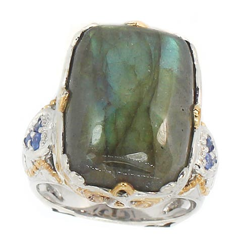 Michael Valitutti Palladium Silver Cushion-cut Labradorite and Blue Sapphire Ring
