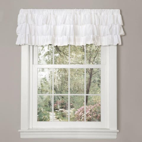 Gracewood Hollow Quist White Ruffled Valance
