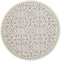 Safavieh Handmade Cambridge Moroccan Silver/ Ivory Rug - 4' Round