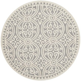 Safavieh Handmade Cambridge Moroccan Silver/ Ivory Rug (8' Round)