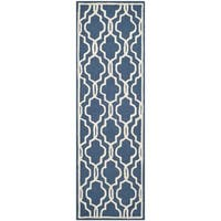 Safavieh Handmade Moroccan Cambridge Navy/ Ivory Wool Rug - 2'6 x 6'