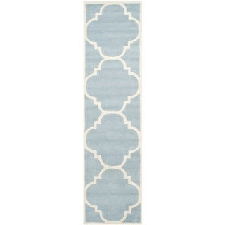 Safavieh Contemporary Handmade Moroccan Blue Wool Rug (2'3 x 11')
