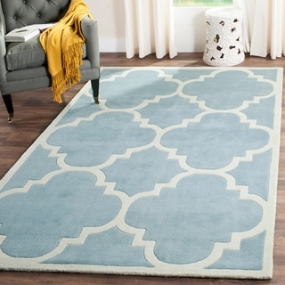 Safavieh Handmade Moroccan Blue Wool Rug with Cotton Canvas Backing (5' x 8')