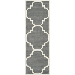 Safavieh Handmade Contemporary Moroccan Dark Grey Wool Rug (2'3 x 11')